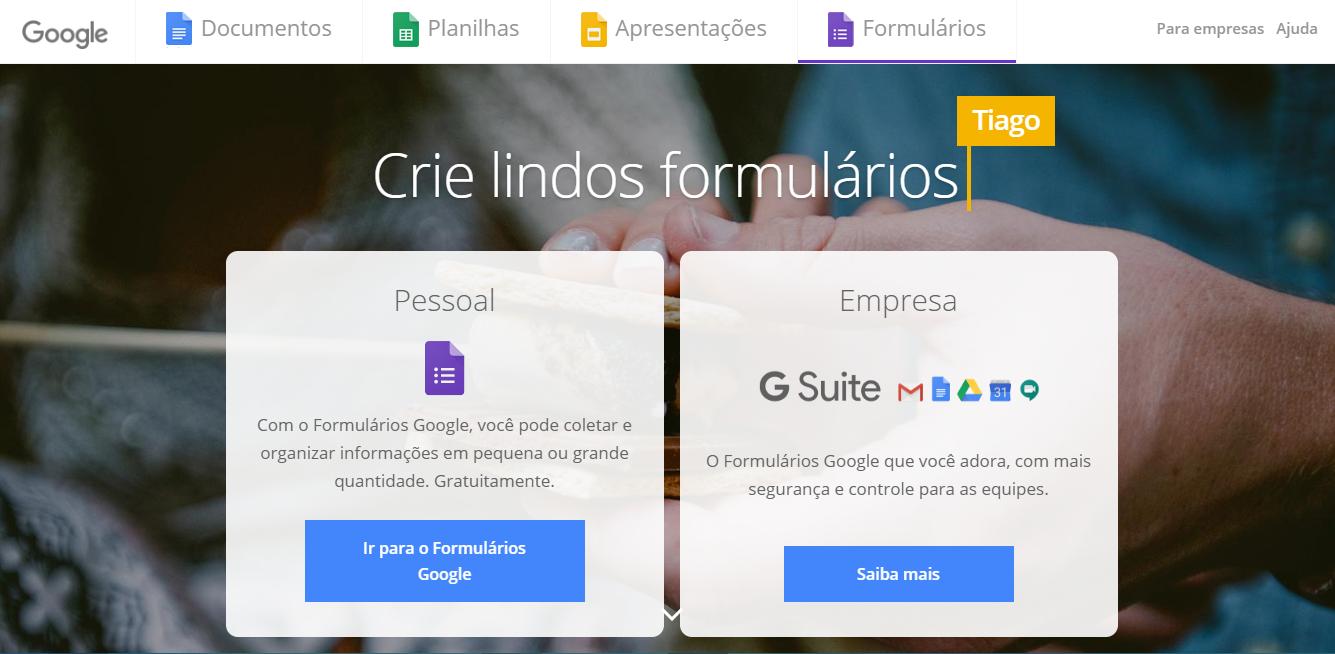 ferramentas organização de eventos- google forms